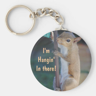 Hang in There Squirrel Keychain