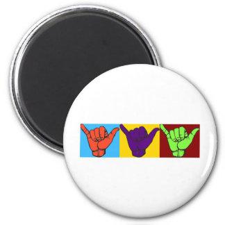 Hang loose design 2 inch round magnet