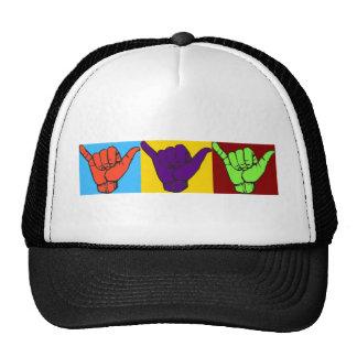 Hang loose design mesh hat