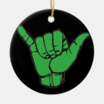 Hang Loose Green Double-Sided Ceramic Round Christmas Ornament
