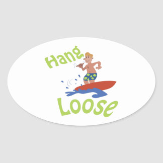 Hang loose oval sticker