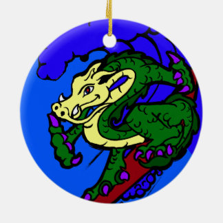 Hang Loose Surfing Dragon Ceramic Ornament