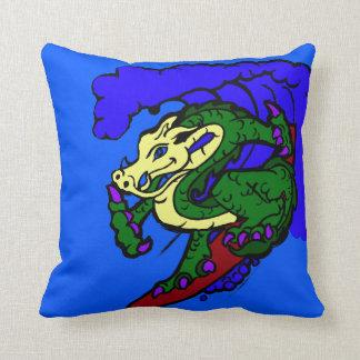 Hang Loose Surfing Dragon Throw Pillow