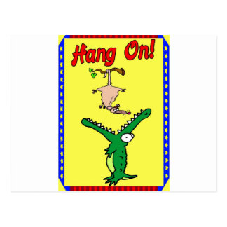 Hang On Alligator and Possum Postcard