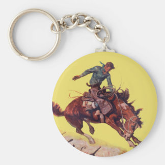 Hang On Cowboy Basic Round Button Keychain