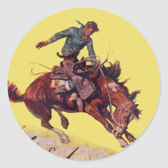 Hang On Cowboy Classic Round Sticker