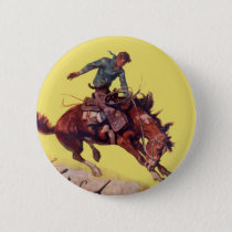 Hang On Cowboy Pinback Button