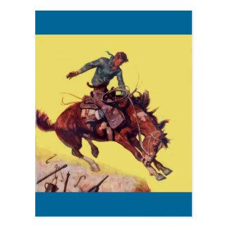 Hang On Cowboy Postcard