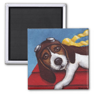 Hang On Flying Ace In Training 2 Inch Square Magnet