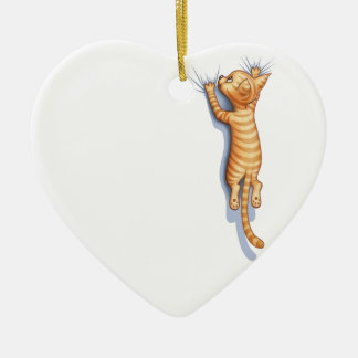 Hang On Kitteh Double-Sided Heart Ceramic Christmas Ornament