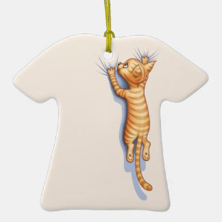 Hang On Kitteh Double-Sided T-Shirt Ceramic Christmas Ornament