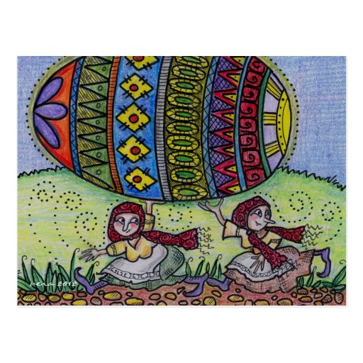 Hang on to Your Pysanka Ukrainian Folk Art Postcard