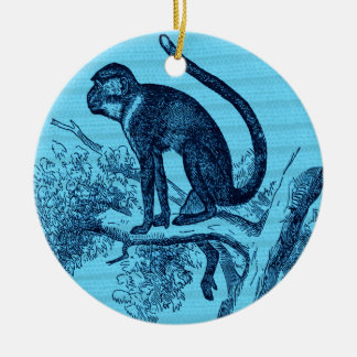 Hang out monkey ceramic ornament