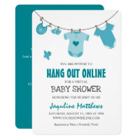 Hang Out Online | Modern Blue Baby Shower Invitation
