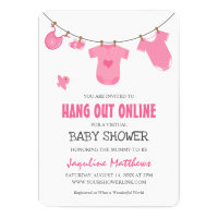 Hang Out Online | Modern Pink Baby Shower Invitation