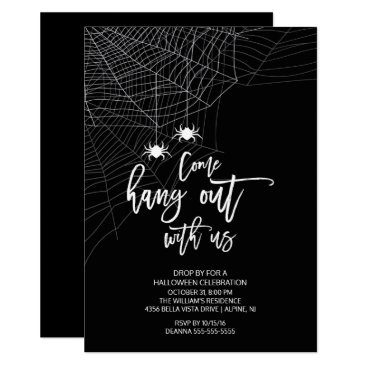 Halloween Themed Hang out with us Spider Halloween Party Card