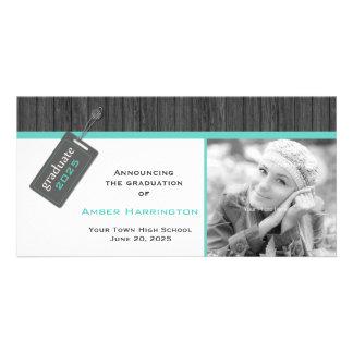 Hang Tag Grad, Gray and Aqua Custom Photo Card