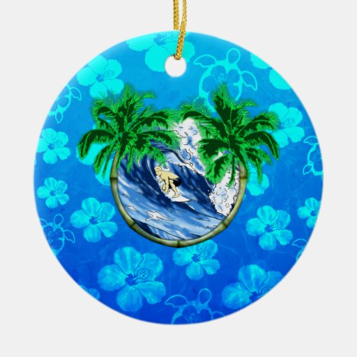 Hang Ten Double-Sided Ceramic Round Christmas Ornament