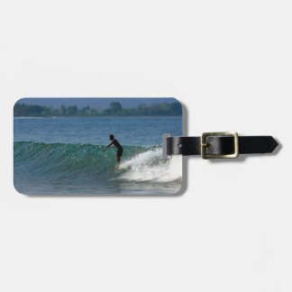 Hang ten surfing tropical coastline tags for bags