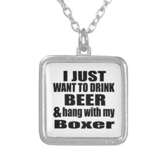 Hang With My Boxer Silver Plated Necklace