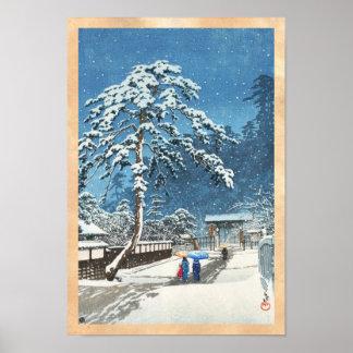 Hanga de la espinilla de Kawase Hasui del templo d Poster