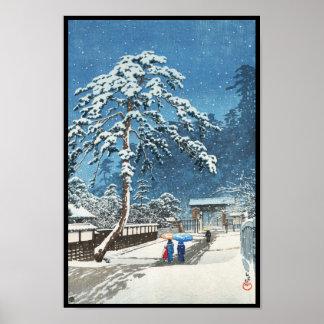 Hanga de la espinilla de Kawase Hasui del templo d Impresiones
