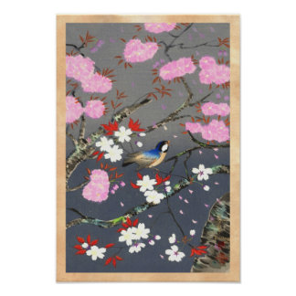 Hanga de la espinilla del bluebird de las flores d impresiones