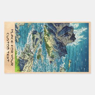 Hanga del waterscape del cabo de Kasamatsu Shiro Pegatina Rectangular