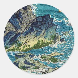 Hanga del waterscape del cabo de Kasamatsu Shiro Pegatina Redonda