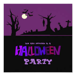 """Hanged In The Graveyard Halloween Party Invitation 5.25"""" Square Invitation Card"""