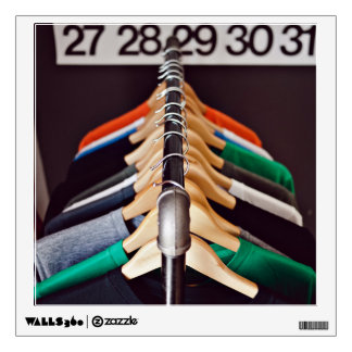 Hanger Themed, Shirts Of Various Colors On Wooden Wall Decal
