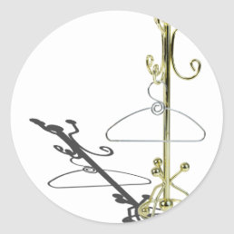 HangerOnCoatRack031415.png Classic Round Sticker