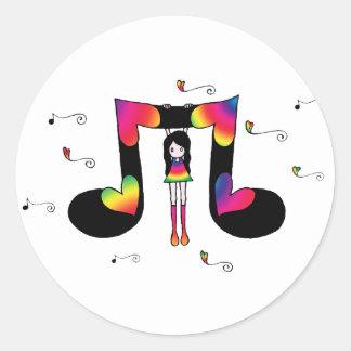 Hangin' with Music Classic Round Sticker