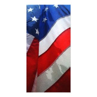 Hanging American Flag Watercolor Card