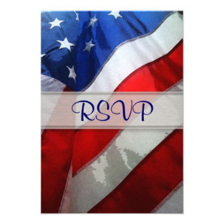 Hanging American Flag Watercolor Personalized Announcement
