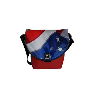 Hanging American Flag Watercolor Courier Bags