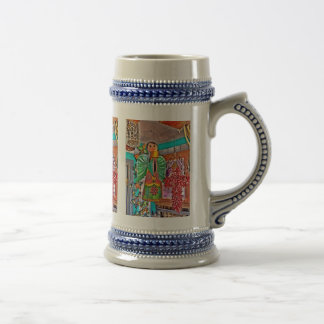 Hanging Angel Metal Art Chili Peppers Painted Frog Beer Stein