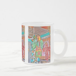Hanging Angel Metal Art Chili Peppers Painted Frog Frosted Glass Coffee Mug