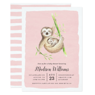 Hanging Around | Sloth Baby Shower Invitations
