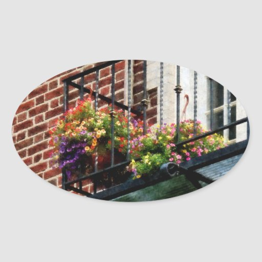 Hanging Baskets on Fire Escape Oval Sticker