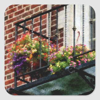 Hanging Baskets on Fire Escape Stickers