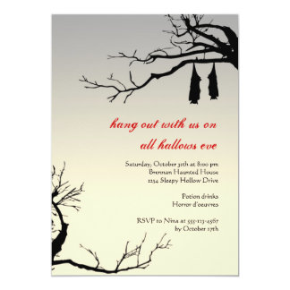 Hanging bats bare branches decay chic Halloween 5x7 Paper Invitation Card
