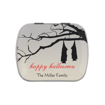 Halloween Themed Hanging bats bare branches decay chic Halloween Jelly Belly Candy Tins