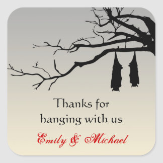 Hanging bats bare branches decay Halloween favor Square Stickers