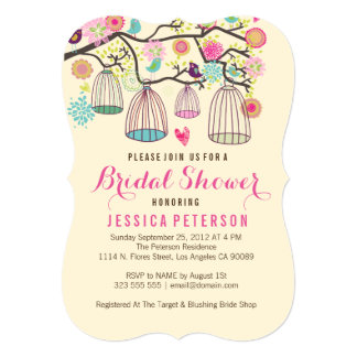Hanging Bird Cages & Retro Flowers 5x7 Paper Invitation Card