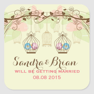 Hanging Bird Cages & Retro Flowers Wedding Sticker