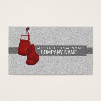 Hanging Boxing Gloves Grain Effect Business Card