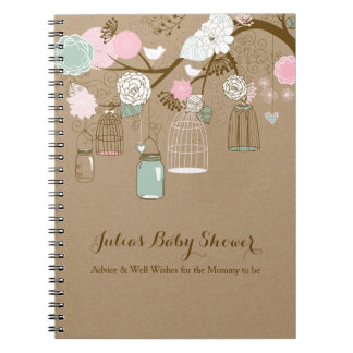 Hanging cages & jars notebook, baby shower advice spiral notebook
