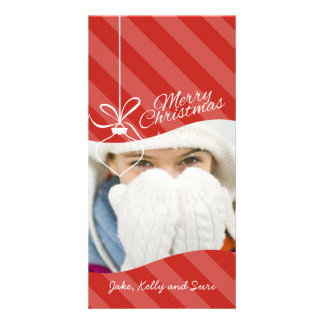 Hanging Clear Ornament on Stripes Christmas Card