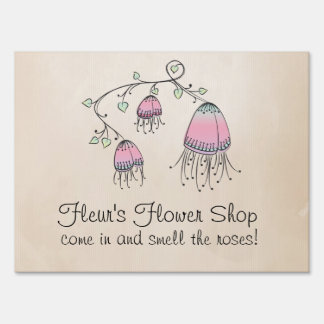 Hanging Doodle Flowers Sign